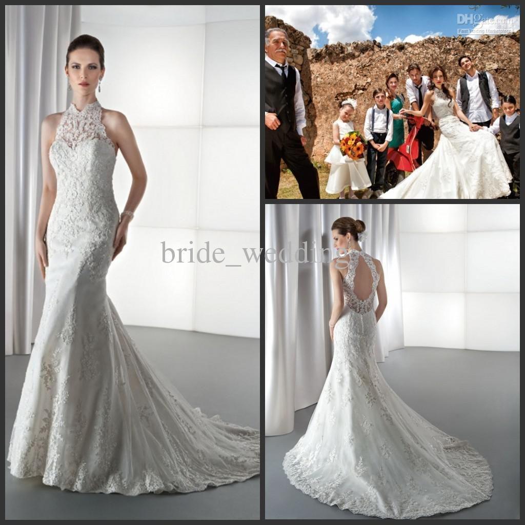 Sexy vintage lace applique drop back mermaid wedding dresses chapel