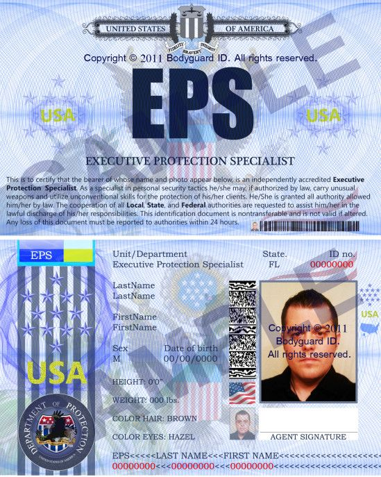Executive Protection Specialist Badge ID only @   bodyguardids - executive protection specialist