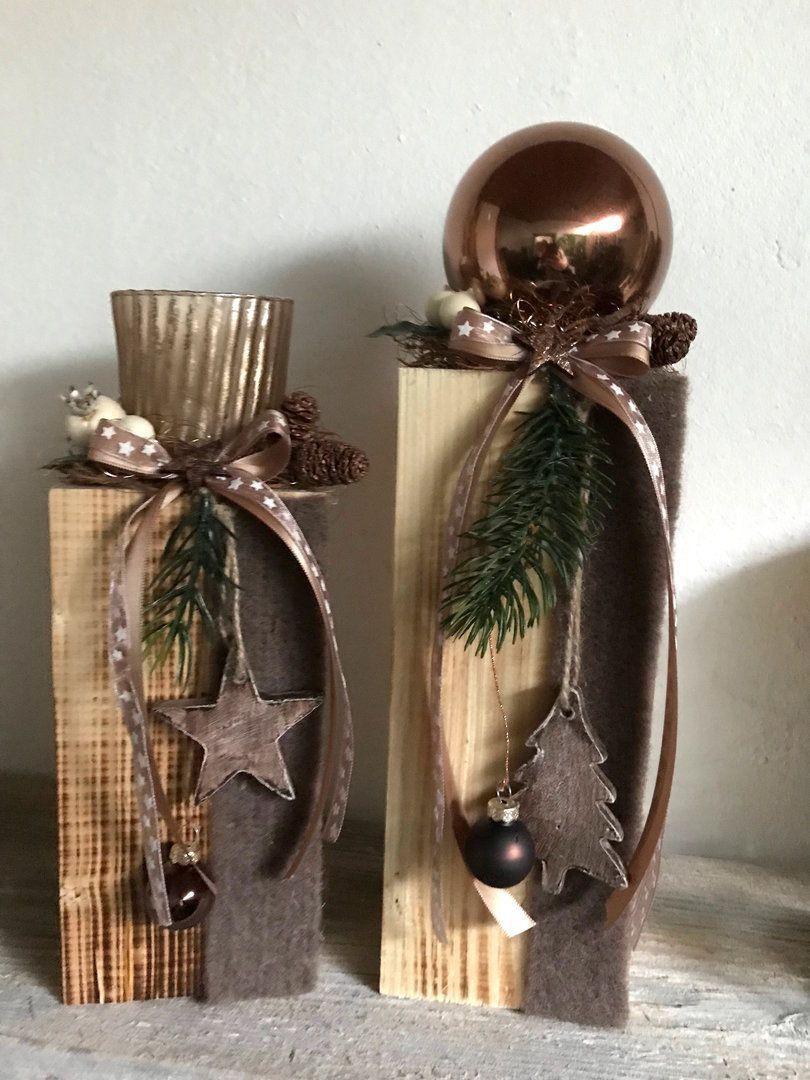 Kugel Kupfer Auf Holzblock Florists Weihnachtsdekoration