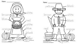 Homeschool Parent Pilgrim Boy And Girl Color Word Worksheets