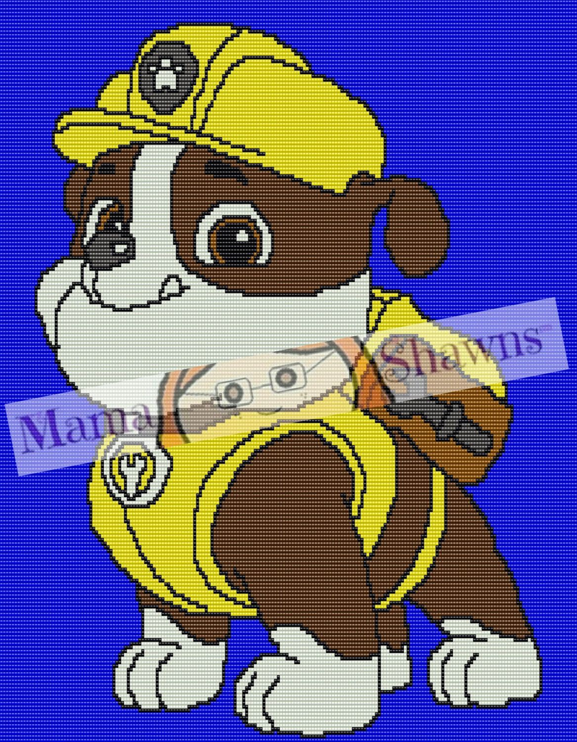Rubble Paw Patrol Inspired Graphghan, Written Pattern, Word Chart ...