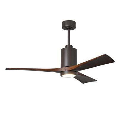 """Matthews Fan Company 52"""" Patricia 3 Blade Ceiling Fan with Wall Remote Motor Finish: Textured Bronze"""