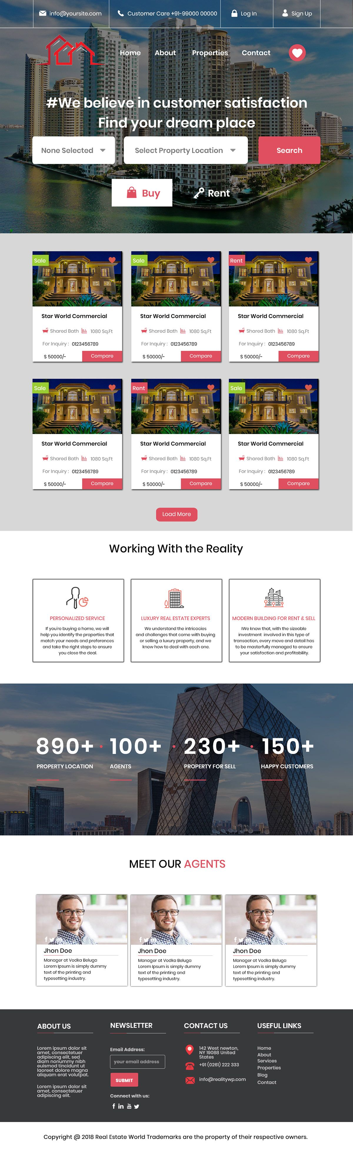 Real Estate Landing Page On Behance Real Estate Landing Pages Landing Page