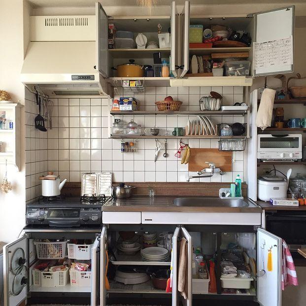 古いアパートでも諦めません シンク下の収納アイデア6つ 賃貸 キッチン 収納 賃貸キッチン キッチン リモデル