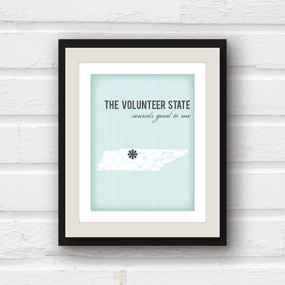 Tennessee Art - Tennessee Map - Tennessee Print - State Home Decor  - State Art - Custom Home decor - 8x10 print