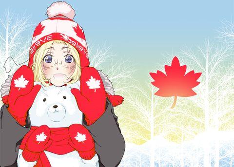 Hetalia (ヘタリア) - Canada (カナダ) -「\日本時間で13日開催だよー!/」/「(´`ω)<…」のイラスト [pixiv]