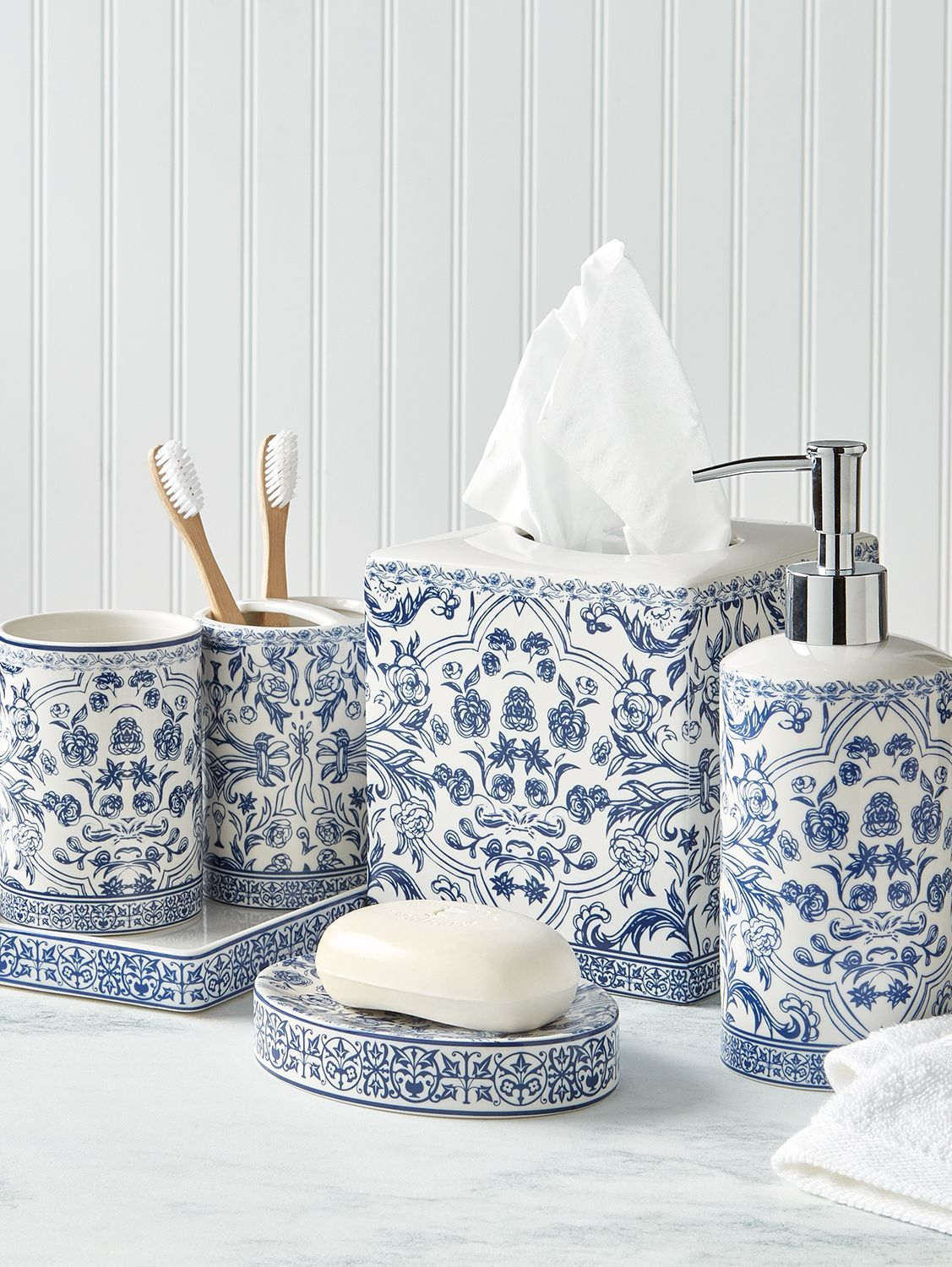 Photo of Blue Toile Bath Accessory Collection