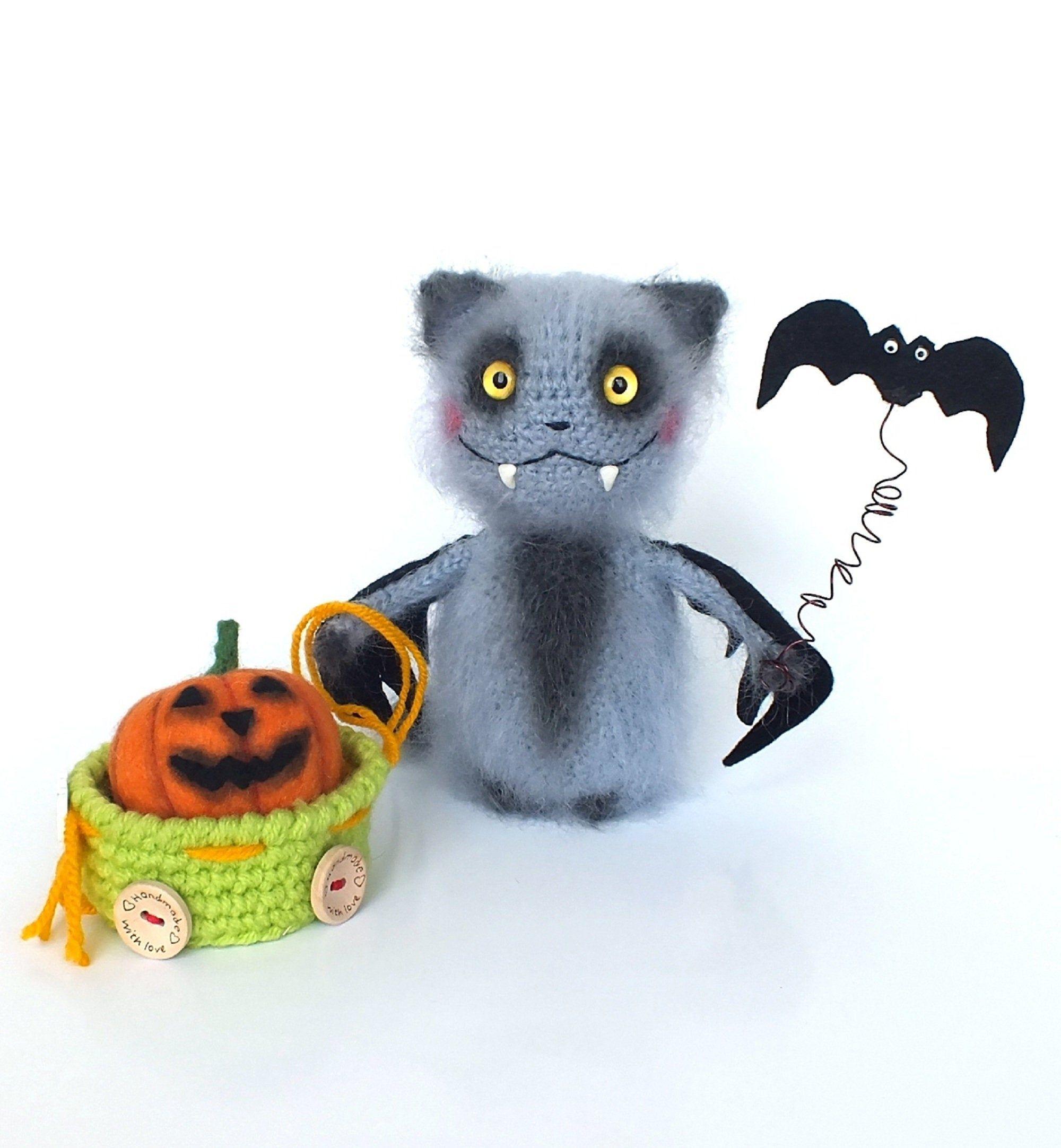 Cat stuffed animal, Amigurumi knitted toy Halloween Home