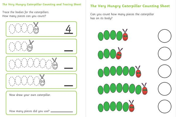 The Very Hungry Caterpillar Counting and Tracing Sheet | Letter a ...