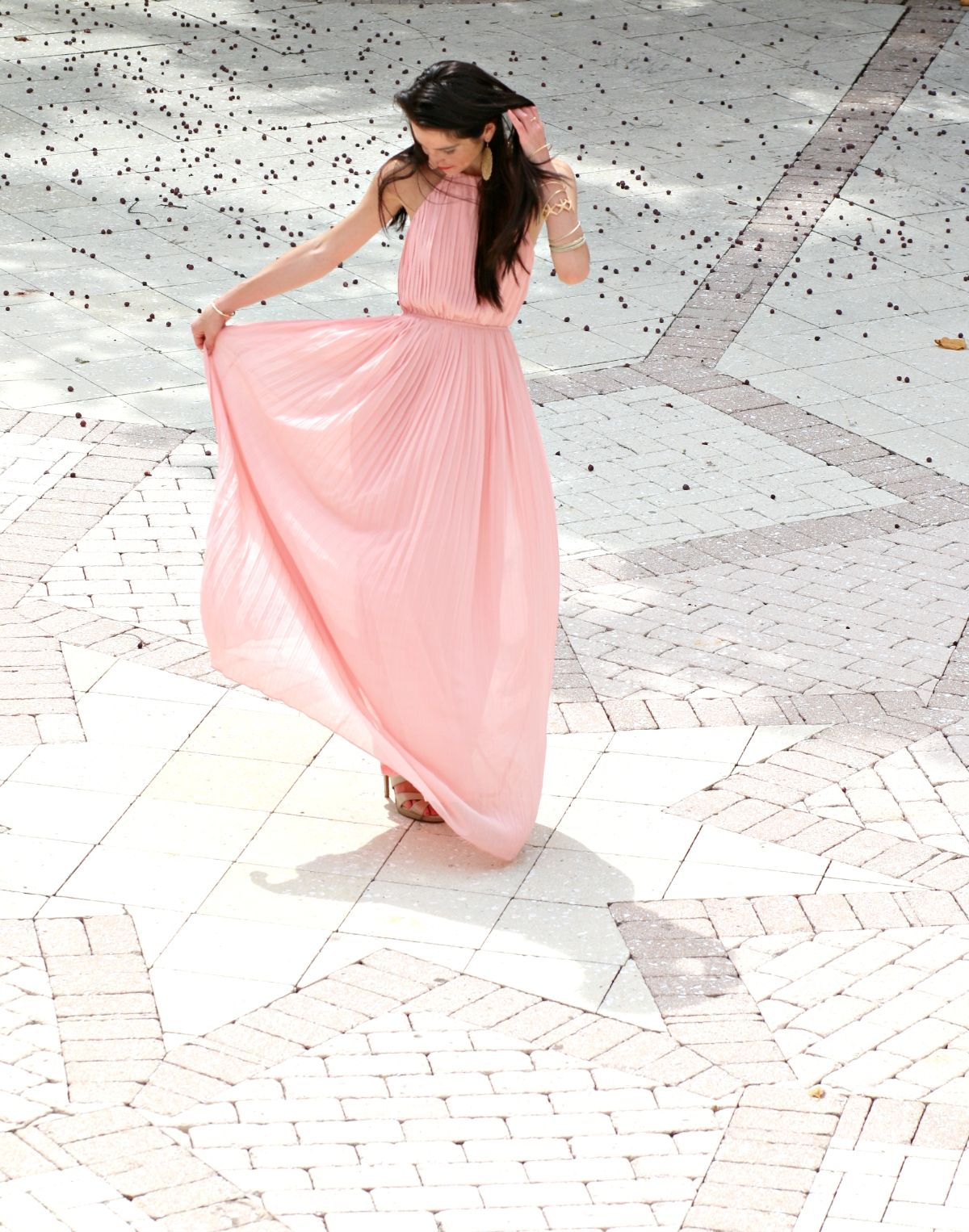 SheInside Pink Pleated Maxi Dress and the Boca Raton Resort