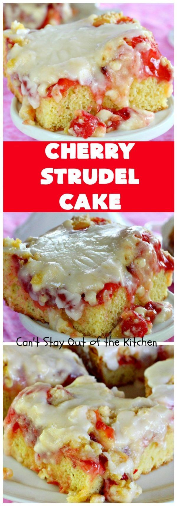 Strudel Cake | Can't Stay Out of the Kitchen | this rich, decadent is absolutely divine! It's perfect for either a or for It uses in the middle, a streusel topping & icing with extract. Tastes like eating but so much easier!Cherry Strudel Cake | Can't Stay Out of the Kitchen | this rich, ...