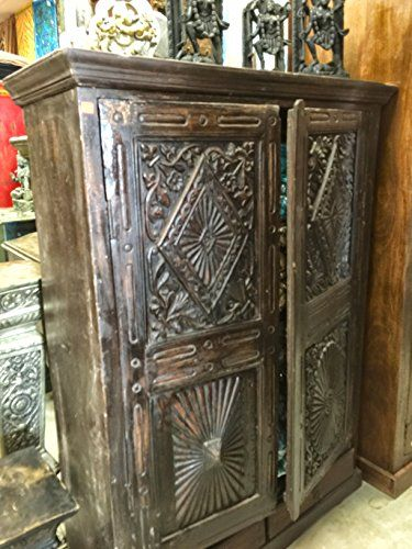 Vintage Hand Carved India Cabinet Teak Rustic Armoire Indian Furniture  Mogul Interior Http://