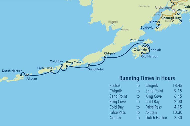 Alaska Marine Highway Kodiak The Aleutian Chain Route Map And