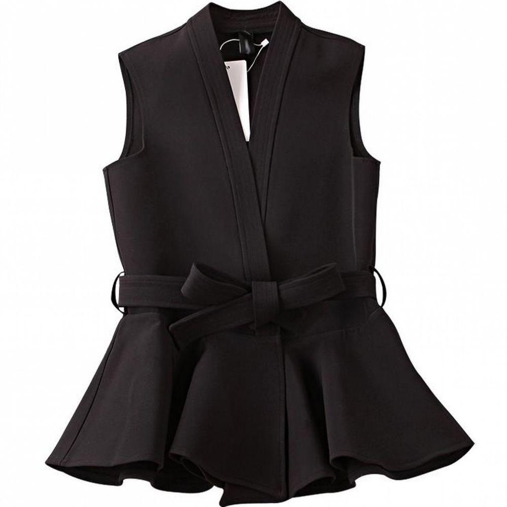 Women S Peplum Sleeveless Waistcoat Vest With Belt Ruffles Casual Black Jacket Womenssleevelesschina Vest Waistcoat Woman Vest Style Women Black Waistcoat [ 1000 x 1000 Pixel ]
