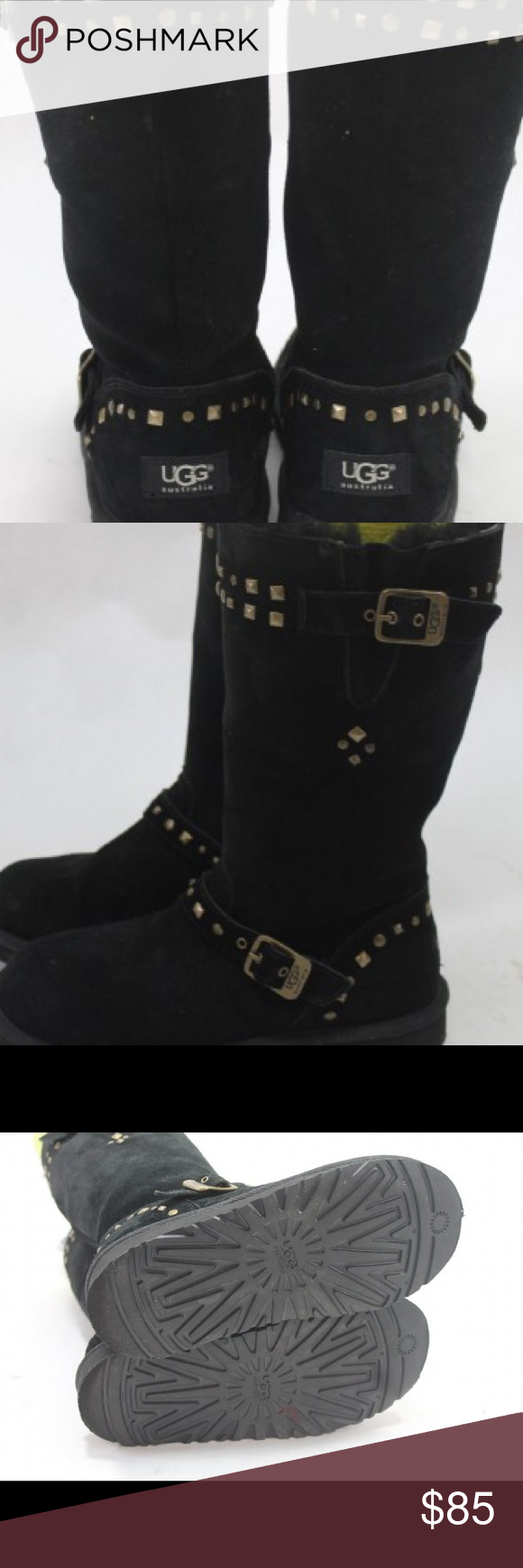 56089e7501f Gorgeous Gold Studded Ugg Boots!! Tall Black Ugg Boots with studded ...