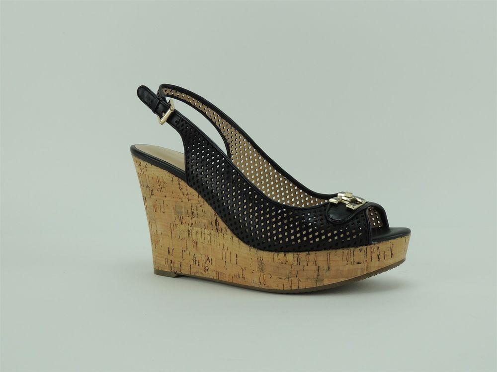 0f441c39386 Tommy Hilfiger Women s Kaluwa Wedge Sandals Black Leather Size 9.5 ...