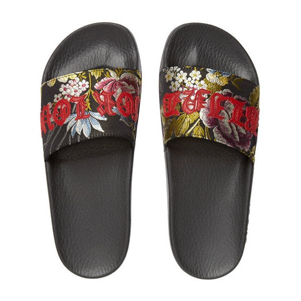 f492f79ab277 Gucci Women s Pursuit Jacquard Slide Sandals ( 495) ❤ liked on Polyvore  featuring shoes