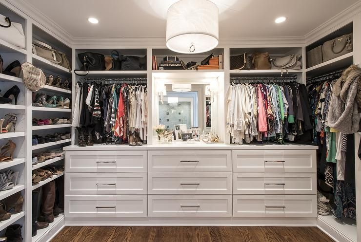 Walk In Closet With Built Dressers Transitional