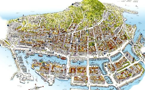 Map of Sète, France | Cartes illustrées, Cartes, France