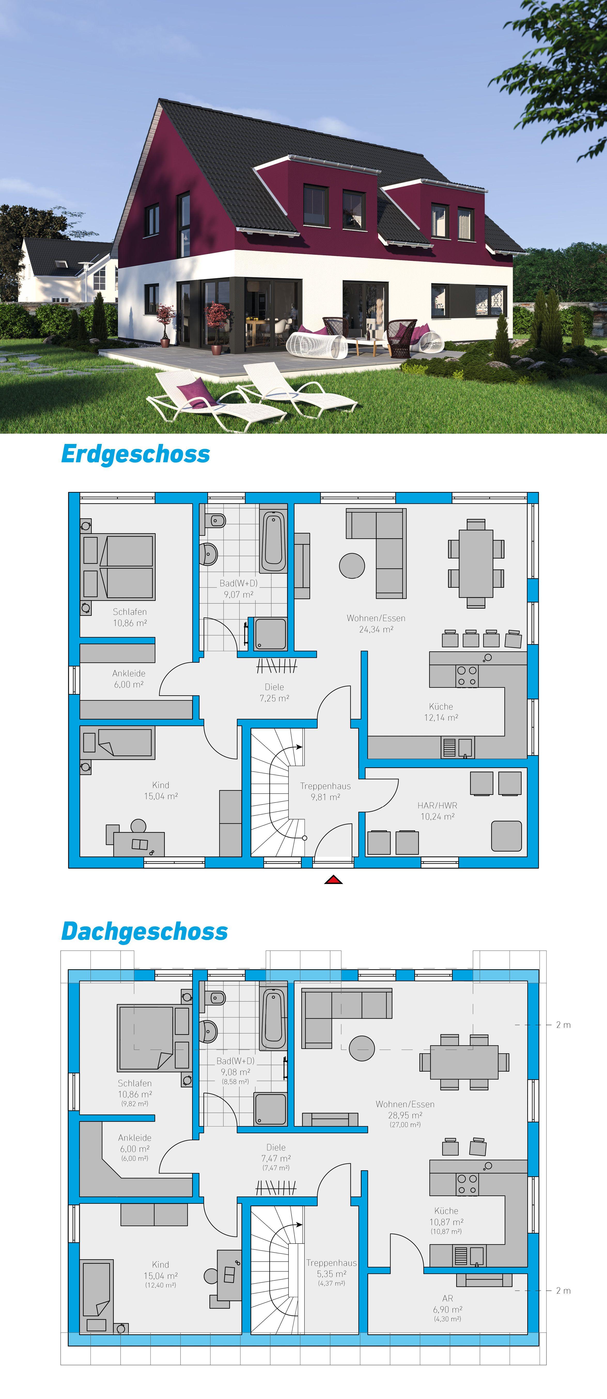 duplex 205 schl sselfertiges massivhaus zweifamilienhaus grundrisse 2018 in 2019. Black Bedroom Furniture Sets. Home Design Ideas