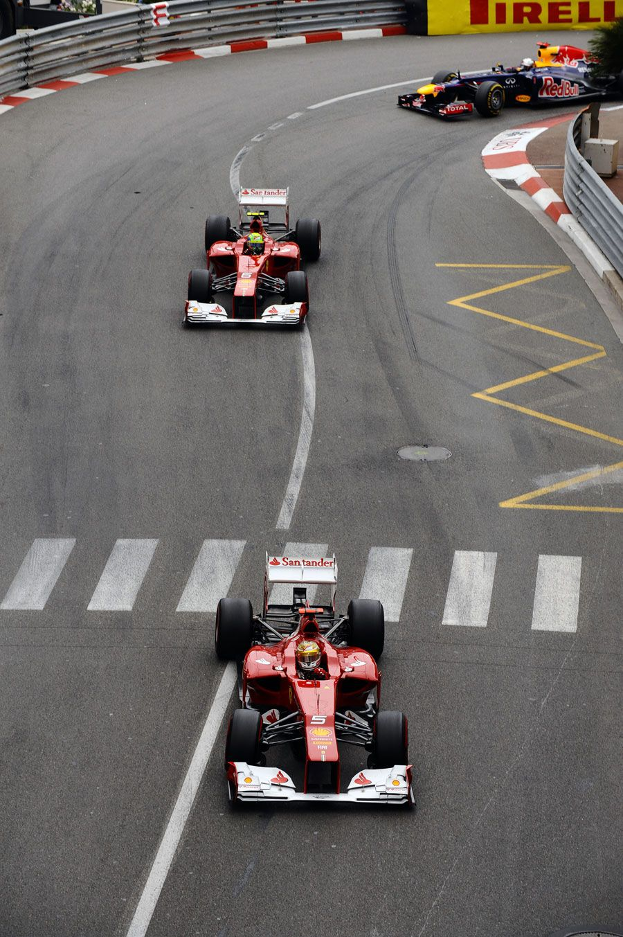 fernando alonso leads felipe massa and sebastian vettel monaco grand prix monte carlo may 27. Black Bedroom Furniture Sets. Home Design Ideas