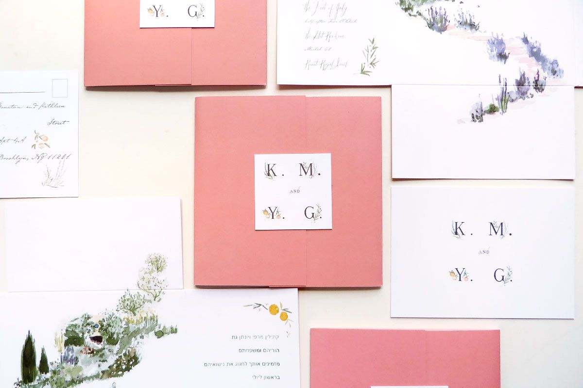 dusty pink wedding invitation square fold out