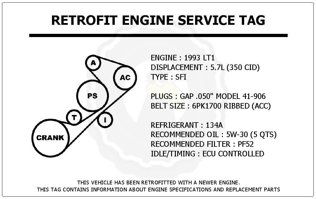 1993 LT1 5 7L Corvette Retrofit Engine Service Tag Belt
