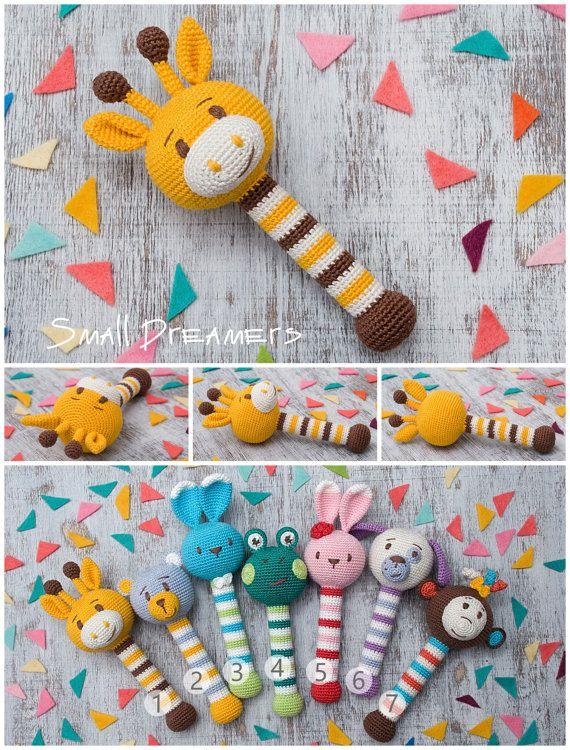 Giraffe rattle Crochet rattle Baby rattle toy Cotton crochet toy ...