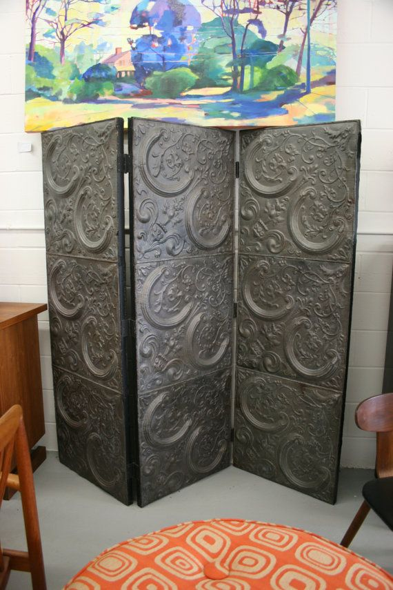 Tin Tri-fold Screen, crafted from Vintage Ceiling Tiles Home stuff