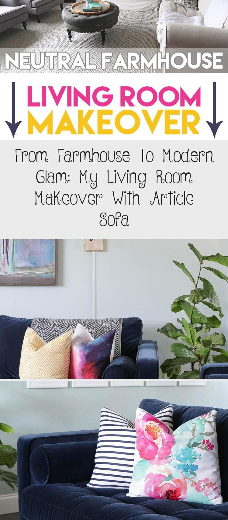 I transformed my neutral farmhouse living room into a colorful modern and sophisticated space with the help of my beautiful new navy blue velvet sofas from Article  blue...