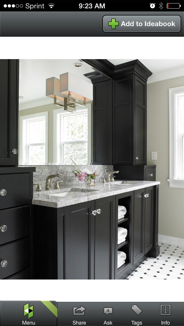 I Love This Black And Simple It Gives You Room To Add An Accent Color Black Cabinets Bathroom Black Vanity Bathroom Traditional Bathroom