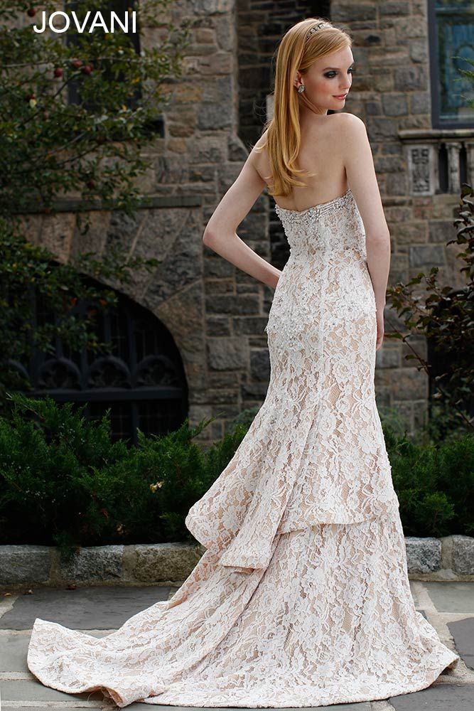 White Lace Dress With Tan Underlay Make With Long Sleeves Collar