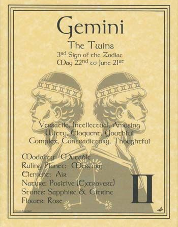 Gemini - The Twins - versatile, intellectual, amusing, witty, eloquent, youthful, complex, contradictory, thoughtful. Mutable. Air. Ruled by Mercury. Stones - sapphire, citrine. Flower - rose. ( ☉ ♊ )