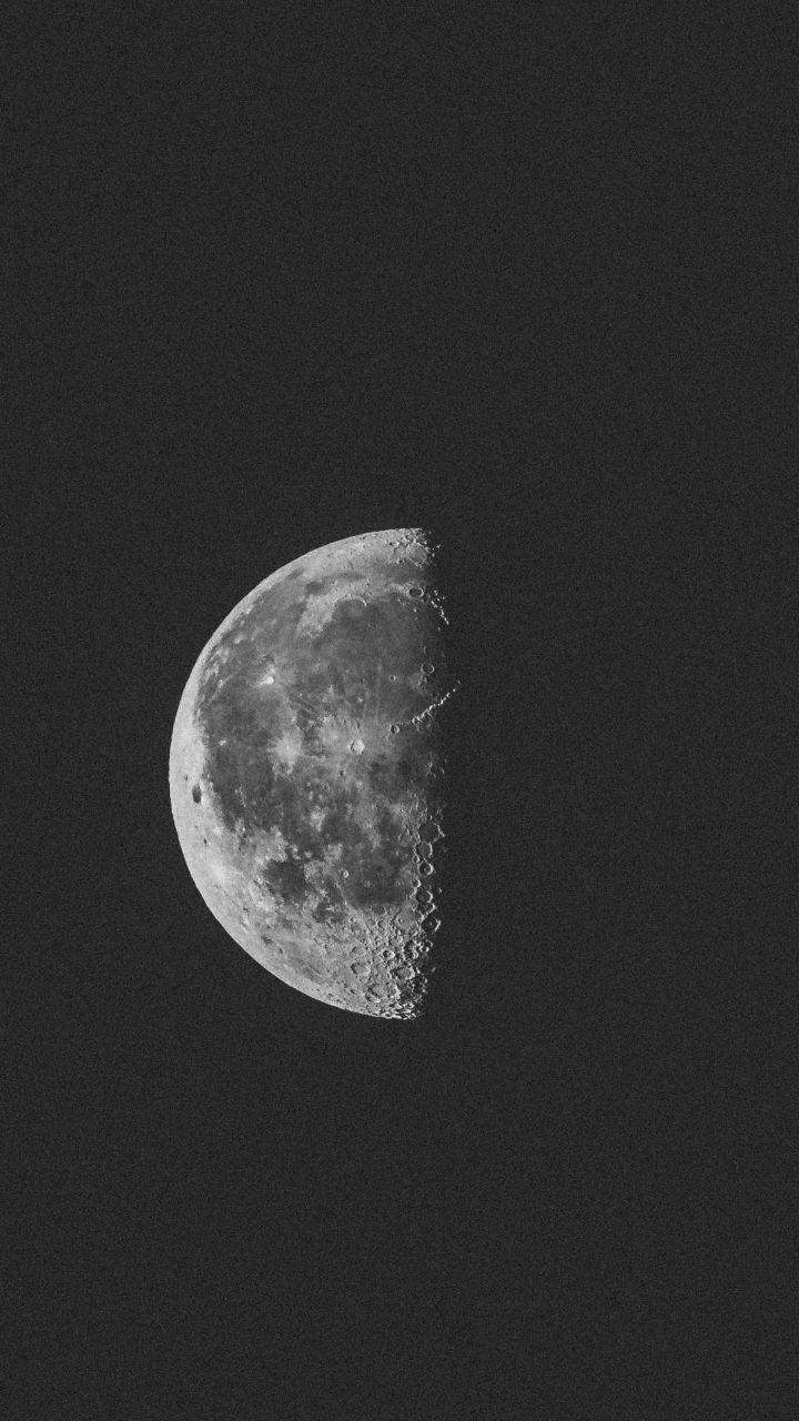 Monochrome Half Moon Night 720x1280 Wallpaper In 2020