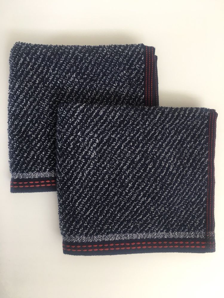 Tommy Hilfiger Towels Set Of 2 Blue With White Red Details 100