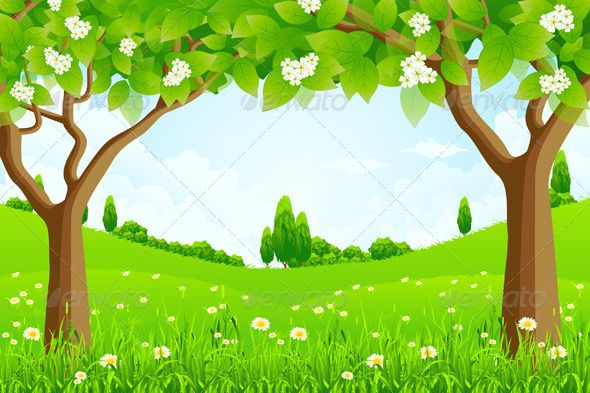 Green Background with Trees Flowers and Hills Christmas ...