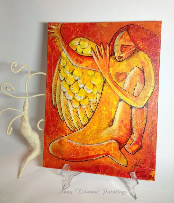 Whimsical Angel painting, mixed media painting acrylic ink on canvas ...