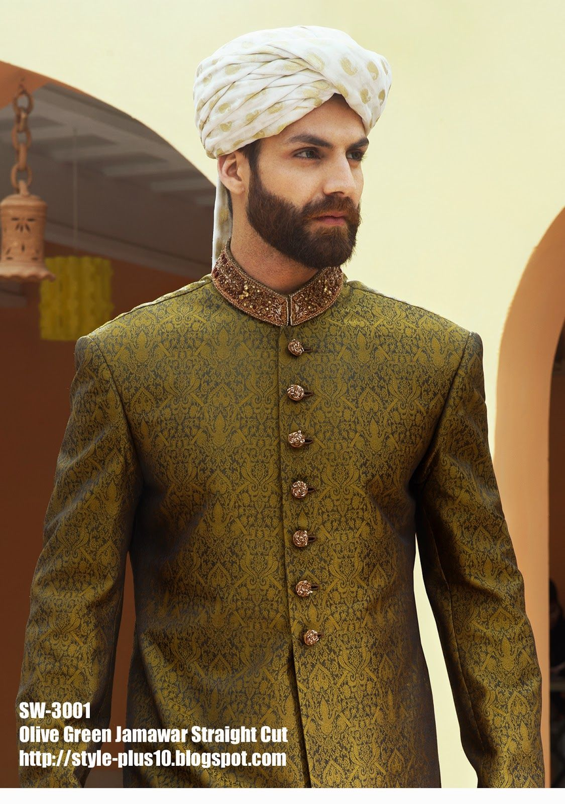 Olive Green Jamawar Straight Cut Sherwani by Amir Adnan