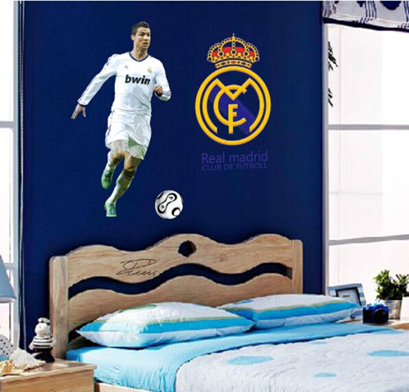 World Cup Soccer Football Star Ronaldo Wall Stickers School Sports Wall  Decal For Boys Kids Bedroom Poster Wallpaper DF9906