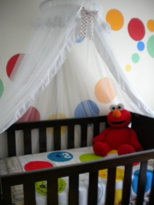 Sesmae Street Bedding And Elmo Wall I Painted