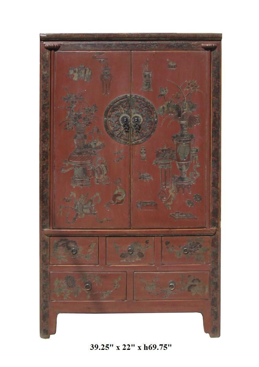 Chinese Maroon Color Vase Flowers Graphic Wooden Armoire Cabinet ...