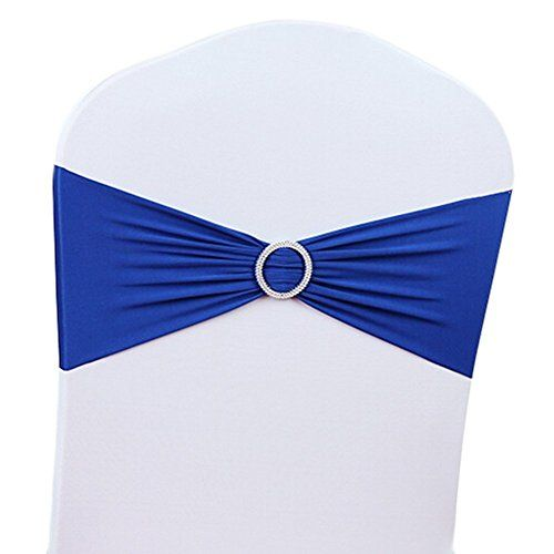 V-Dragons Stretch Chair Cover Band With Buckle Slider Sashes Bow Wedding Banquet Party Decorations (100, Royal Blue)