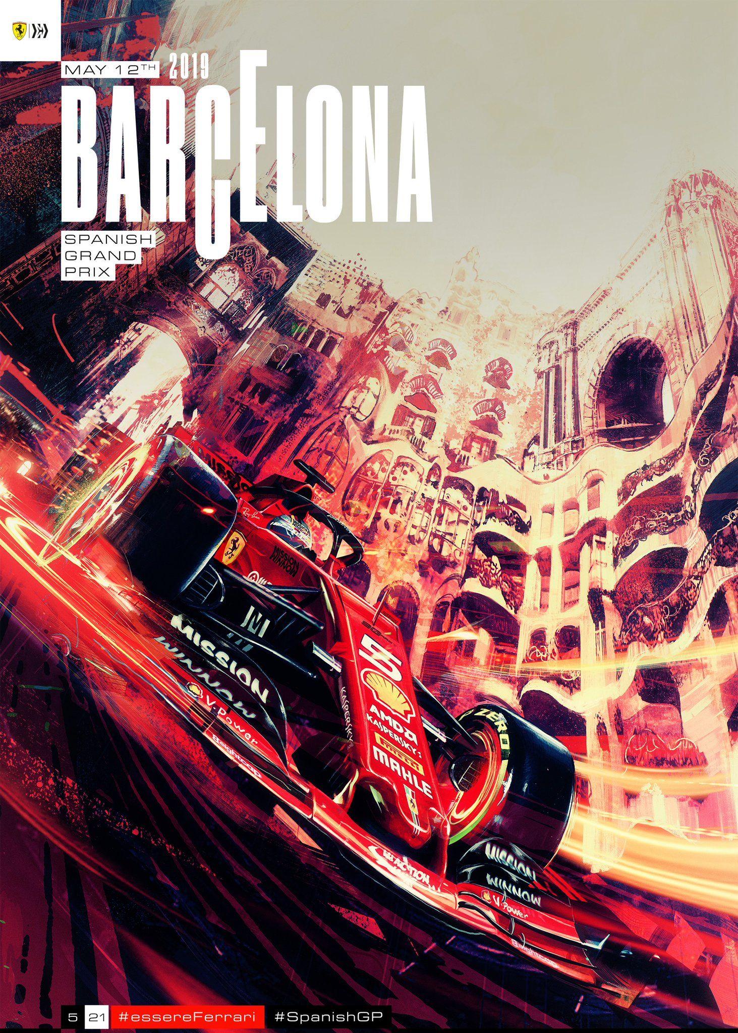 Sebastian Vettel P4 Charles Leclerc P5 Vintage Racing Poster Spanish Grand Prix Grand Prix Art