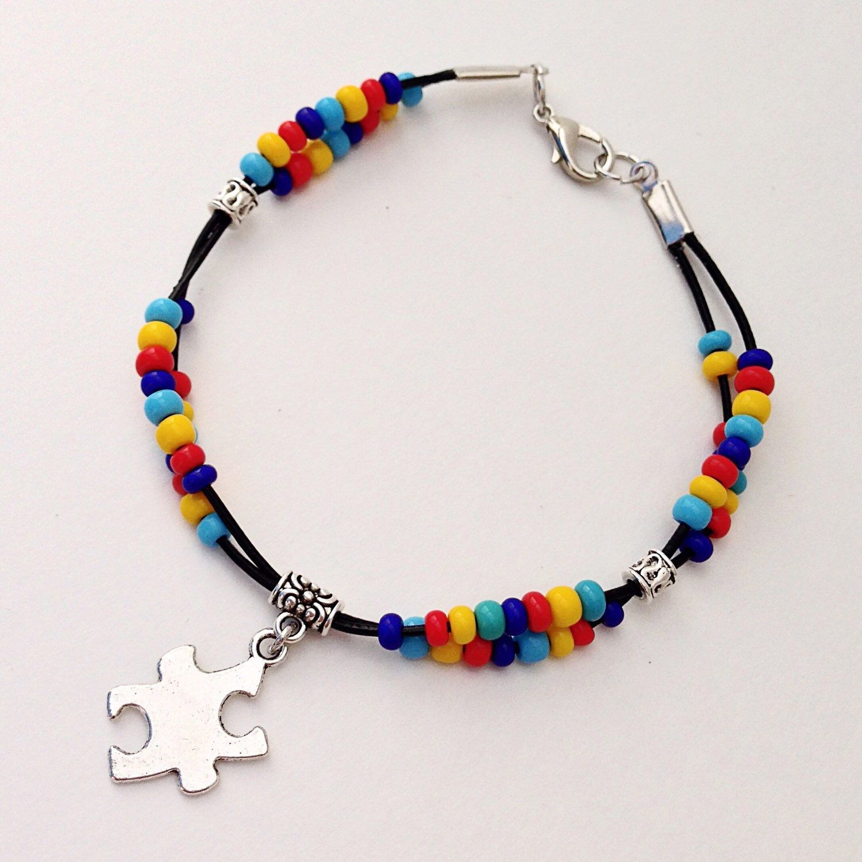 Autismawareness Bracelet Autism Beaded Leather Bracelet Support Autism Puzzle Piece Charm Asperger Syndrome Braclet Asd By Eve Pulseras Collares Bisuteria