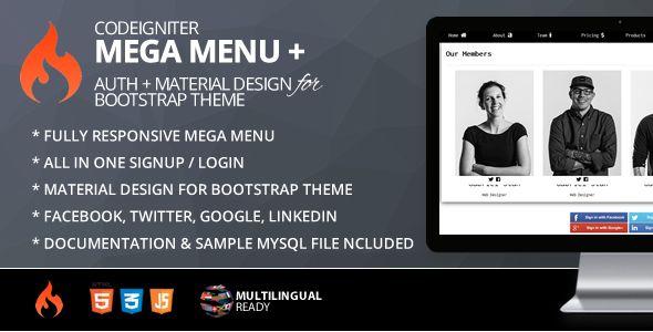 Mega Menu for CodeIgniter + ion-auth + Material Design for Bootstrap