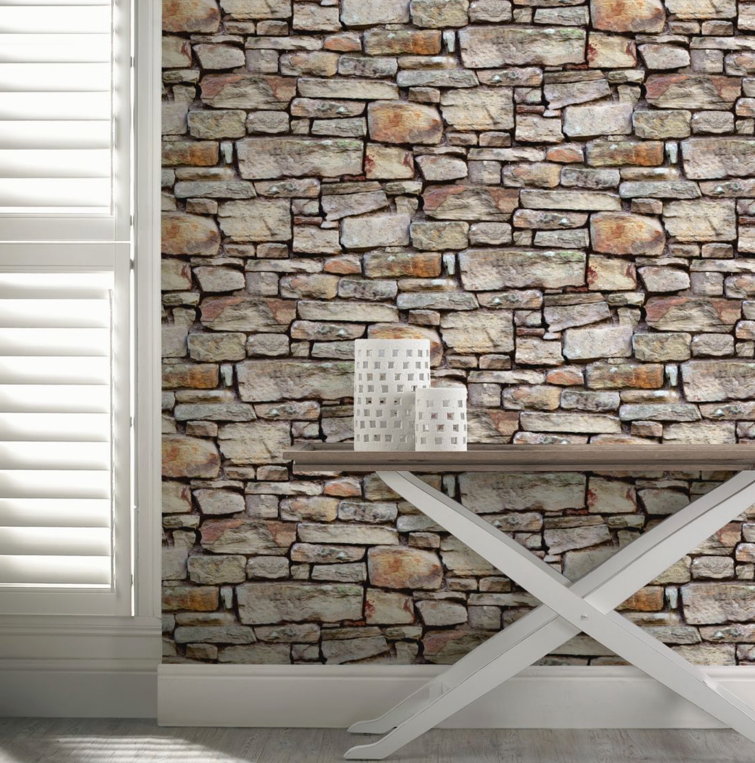Cornish Stone Brown 3d Brickwork Wallpaper