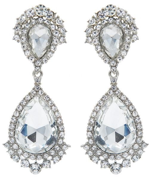 STATEMENT Vintage Chandelier Crystal Drop Clip On Earrings