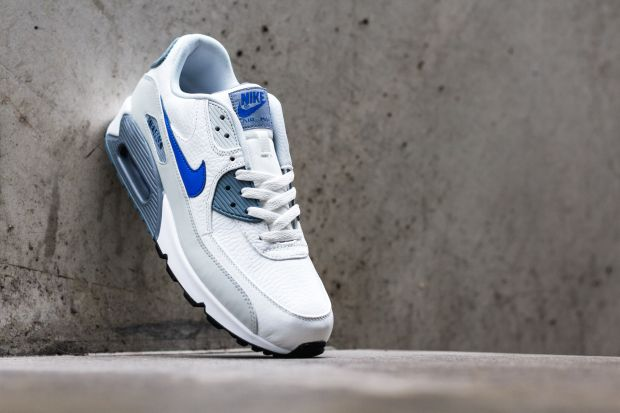 nike white air max 90 leather blue