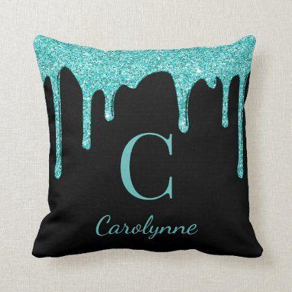 Black Teal Sparkle Glitter Drips Monogram Throw Pillow