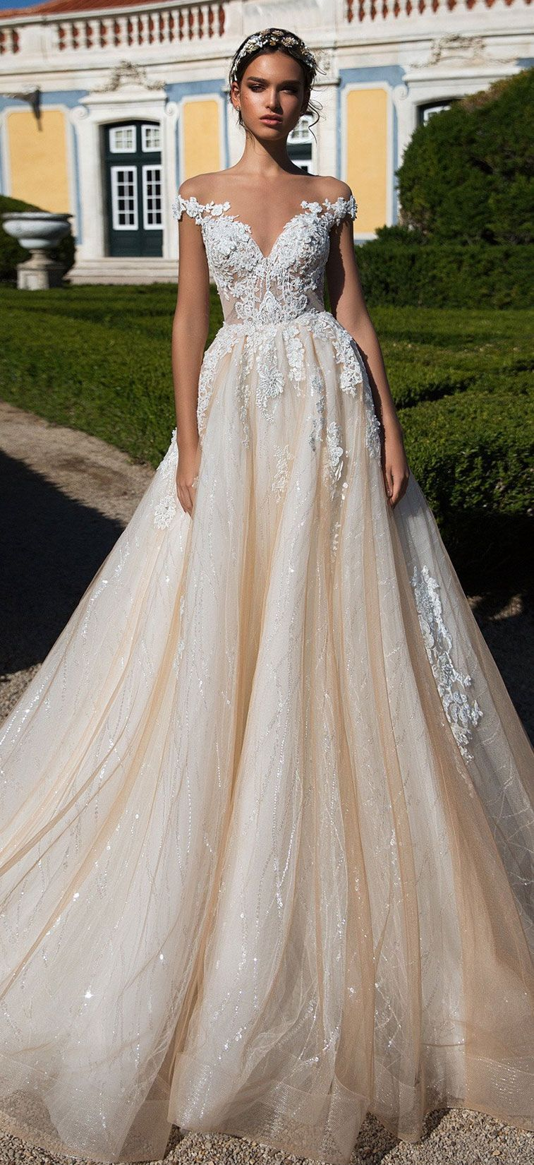 91dc231fc9 Off the shoulder a line heavy embellishment ball gown wedding dress   Milla  Nova wedding dress  weddingdress  weddinggown  wedding  bridedress